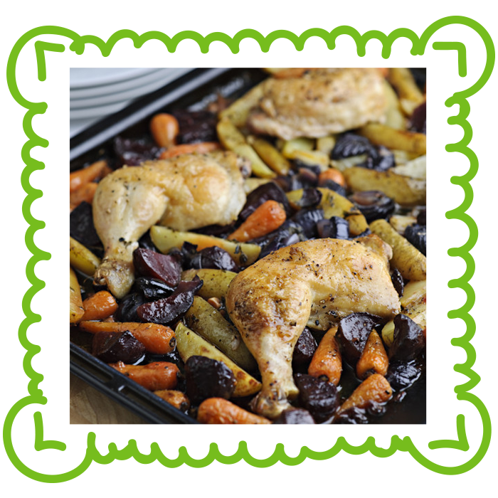 Skillet Chicken With Roasted Potatoes Carrots Recipe: One Pan Roast Lunch Of Chicken, Beets, Potatoes And